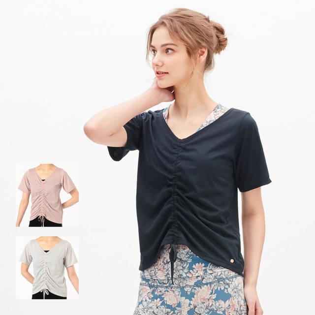 【チャコット】ギャザーディテールTシャツ